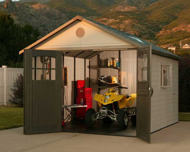 Lifetime 11 x 23.5 Shed w/9 ft Tri-Fold Doors & FREE Tool Corral